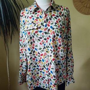 Talbots Leaf Print Button Down Shirt